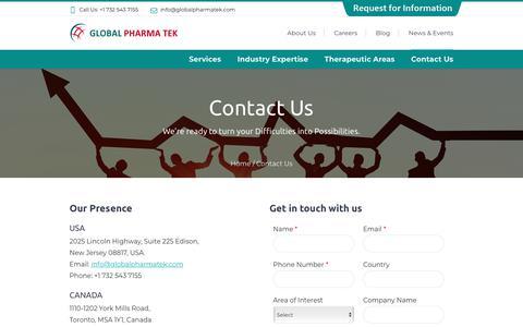 Screenshot of Contact Page globalpharmatek.com - Contact CRO for Drug Development Solutions | Global Pharmatek - captured Sept. 28, 2018