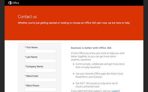 Screenshot of Landing Page office.com - Contact Office 365 - captured March 14, 2016
