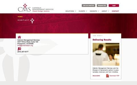 Screenshot of Contact Page cmsmission.org - Contact   Catholic Management Services - captured Oct. 2, 2014