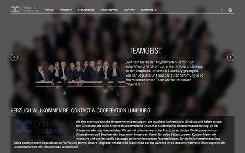 Screenshot of Home Page contact-cooperation.de - Studentische Unternehmensberatung C&C Lüneburg e.V. - captured Sept. 13, 2015