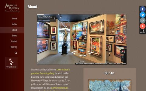 Screenshot of About Page marcusashley.com - About » Marcus Ashley Gallery - captured March 21, 2017