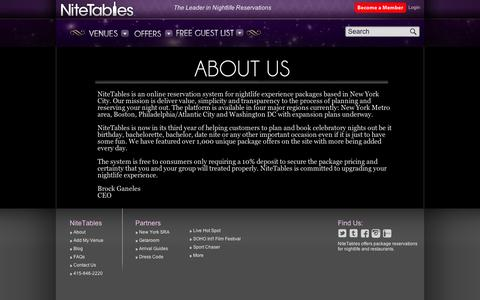 Screenshot of About Page nitetables.com - About Us   NiteTables - captured Sept. 11, 2014