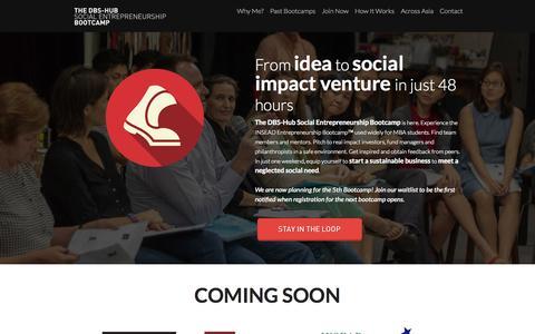Screenshot of Home Page venturesforchange.com - The DBS-Hub Social Entrepreneurship Bootcamp - captured Sept. 3, 2015