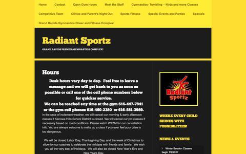 Screenshot of Hours Page radiantsportzgr.com - Hours | Radiant Sportz - captured Jan. 5, 2017