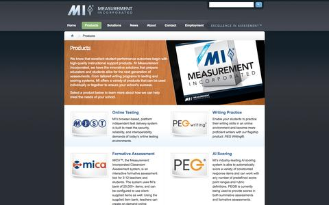 Screenshot of Products Page measurementinc.com - Products | Measurement Incorporated ® - captured Oct. 27, 2014