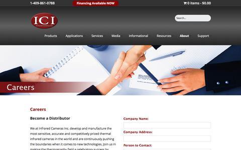 Screenshot of Jobs Page infraredcamerasinc.com - Become a Distributor   Infrared Cameras Inc. - captured Jan. 13, 2018