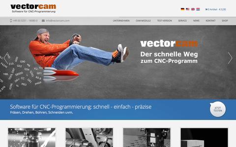 Screenshot of Home Page vectorcam.com - vectorcam - CNC-Software - CAM-Software - CAD-Software - captured Oct. 12, 2015
