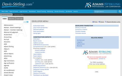 Screenshot of Developers Page davis-stirling.com - Developer Menu - captured June 27, 2017