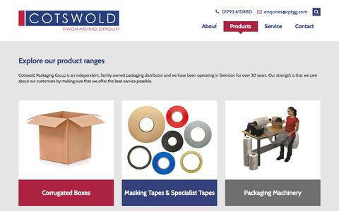 Screenshot of Products Page cpkgg.com - Explore our product ranges - Cotswold Packaging Group - captured July 15, 2018