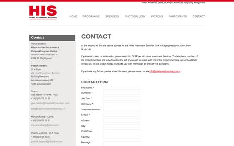 Screenshot of Contact Page hotelinvestmentseminar.nl - Contact - Hotel Investment Seminar - captured Sept. 30, 2014