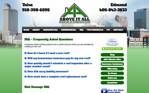 Screenshot of FAQ Page aiaroofing.com - FAQ About Roof Installations and More - captured Oct. 4, 2014