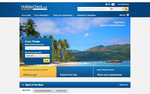 Screenshot of Home Page holidaycheck.com - HolidayCheck.com | hotel reviews, pictures and travel facts - captured Oct. 1, 2015