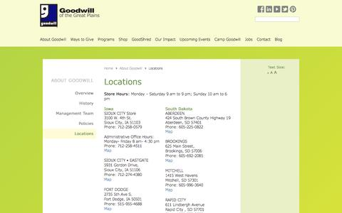 Screenshot of Contact Page Locations Page goodwillgreatplains.org - Goodwill of the Great Plains |   Locations - captured Nov. 11, 2016
