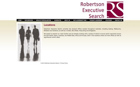 Screenshot of Locations Page robertsonsearch.com - Robertson Executive Search Locations - captured Oct. 7, 2014