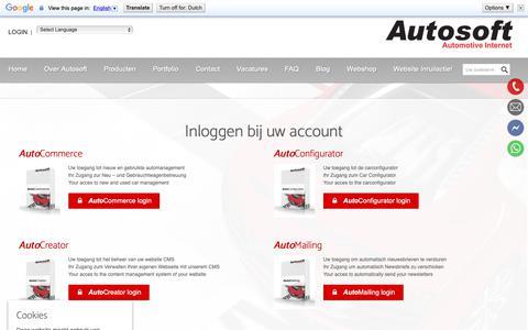 Screenshot of Login Page autosoft.eu - Inloggen bij uw account - Autosoft - captured Nov. 6, 2018