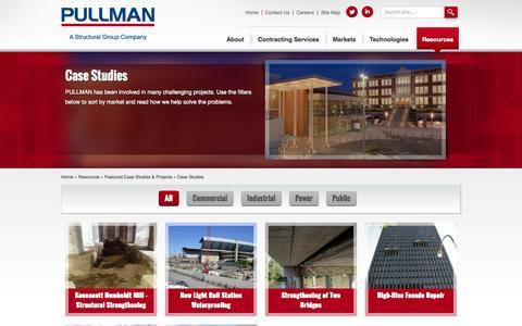 Screenshot of Case Studies Page pullman-services.com - Case Studies | PULLMAN - captured Oct. 1, 2014