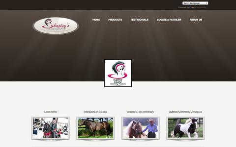 Screenshot of Home Page shapleys.com - HOME - Superior Equine Grooming Products Superior Equine Grooming Products - captured Oct. 9, 2014