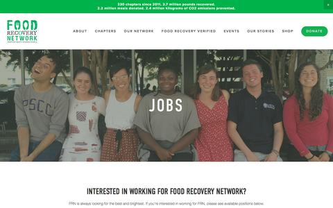 Screenshot of Jobs Page foodrecoverynetwork.org - Jobs — Food Recovery Network - captured Aug. 19, 2018