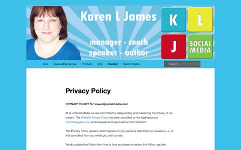 Screenshot of Privacy Page kljsocialmedia.com - Privacy Policy - KLJ Social Media - captured Sept. 30, 2014