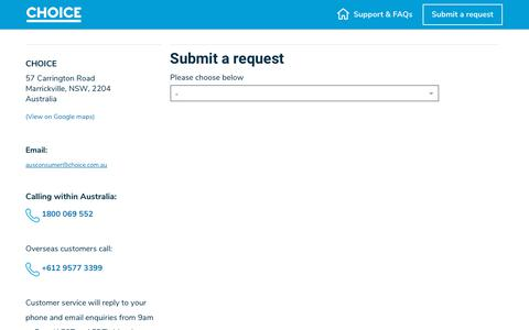 Screenshot of Contact Page choice.com.au - Submit a request – CHOICE - captured Jan. 23, 2020