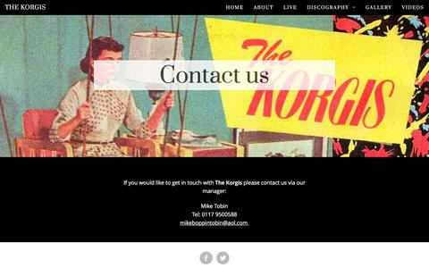 Screenshot of Contact Page thekorgis.com - The Korgis :: Contact us - captured June 20, 2016