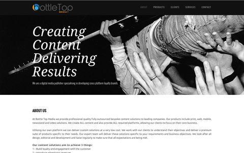 Screenshot of About Page bottletopmedia.com - Creating Content Delivering Results - captured Sept. 30, 2014