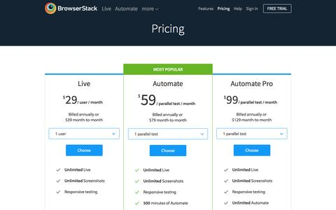 Screenshot of Pricing Page browserstack.com - BrowserStack Plans and Pricing - captured Dec. 24, 2015