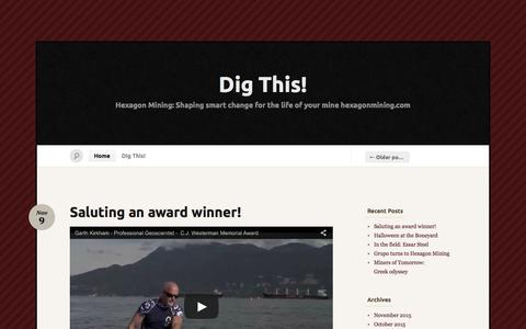 Screenshot of Home Page digminesight.com - Dig This! « Hexagon Mining: Shaping smart change for the life of your mine   hexagonmining.com - captured March 17, 2016