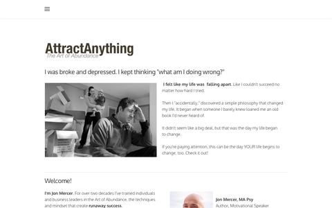 Screenshot of Home Page attractanything.com - AttractAnything - Law of Attraction | Attraction Tips to Attract Money And Prosperity - AttractAnything - captured March 16, 2016