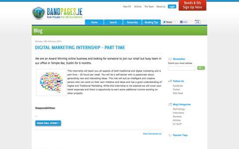 Screenshot of Blog bandpages.ie - Band Blog - captured Oct. 5, 2014