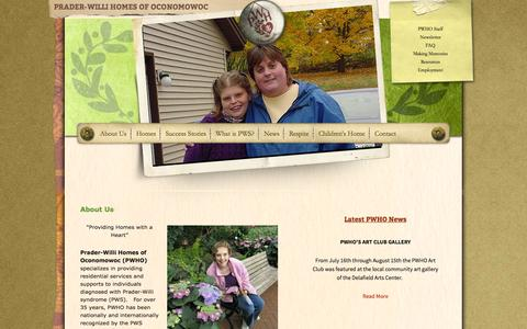 Screenshot of About Page pwho.com - About Us | Prader-Willi Homes of Oconomowoc - captured Oct. 2, 2014
