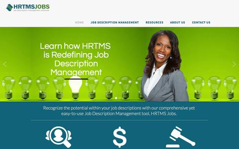 Screenshot of Home Page hrtms.com - HRTMS.com - Job Description Management Software | HRTMS Jobs - captured Sept. 26, 2014