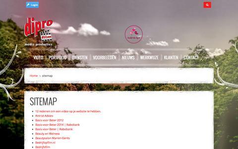 Screenshot of Site Map Page diprofilm.nl - www.diprofilm.nl | Bedrijfsfilms | Laat een professionele bedrijfsfilm maken - sitemap - captured Aug. 2, 2016