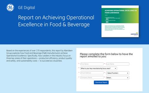 Screenshot of Landing Page ge.com - GE Digital: Achieve Operational Excellence in Food & Beverage - captured March 23, 2016