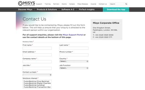 Contact Us Form For Support Enquiries ǀ Misys Financial Software