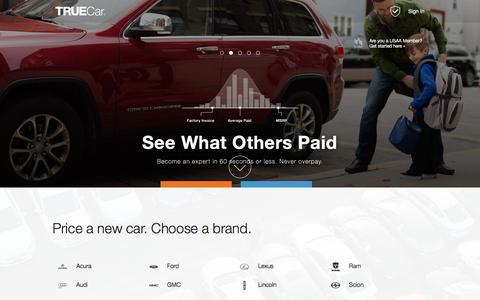 Screenshot of Home Page truecar.com - TrueCar | Never overpay. Hassle-free car buying from TrueCar Certified Dealers. - captured Dec. 11, 2015
