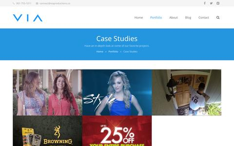 Screenshot of Case Studies Page viaproductions.co - VIA Productions  –  Case Studies - captured Oct. 29, 2014