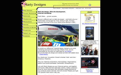 Screenshot of Home Page martydesigns.com - Marty Designs Web design and development High Point, Greensboro Piedmont Triad North Carolina NC - captured March 10, 2016