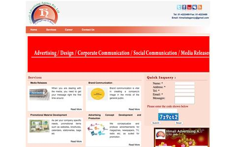 Screenshot of Services Page adagencynepal.com - Services - captured Jan. 30, 2016