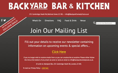 Screenshot of Signup Page backyardbar.co.uk - Join Our Mailing List - captured Nov. 15, 2018