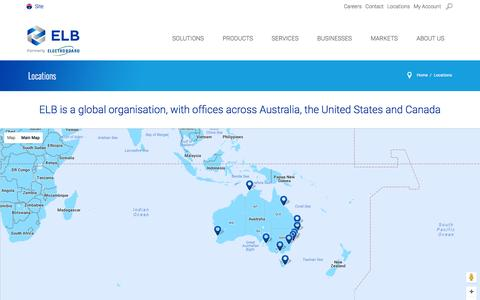 Screenshot of Locations Page electroboard.com.au - Locations - captured Oct. 14, 2016