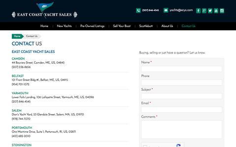Screenshot of Contact Page ecys.com - Contact Us | East Coast Yacht Sales - captured July 5, 2017
