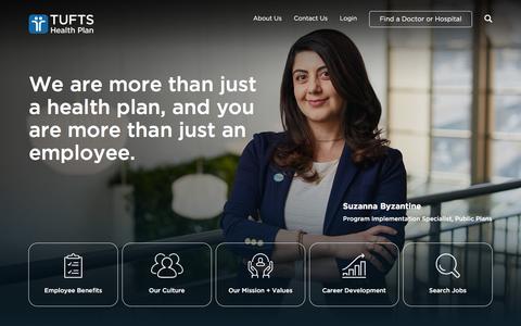 Screenshot of Jobs Page tuftshealthplan.com - Careers  | Tufts Health Plan | Tufts Health Plan - captured Sept. 11, 2019