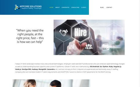 Screenshot of Home Page appcoresolutions.com - AppCore Solutions | Adaptive IT staffing – Priced Right - captured Oct. 8, 2017