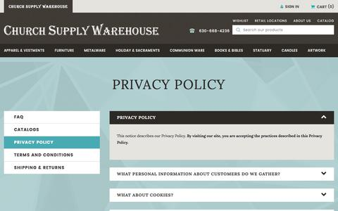 Screenshot of Privacy Page churchsupplywarehouse.com - Privacy Policy - captured Oct. 24, 2017
