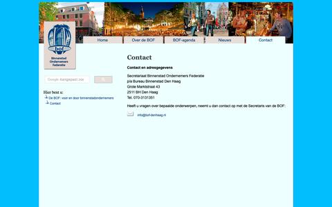 Screenshot of Contact Page bof-denhaag.nl - BOF Den Haag - Binnenstad Ondernemers Federatie - captured Sept. 29, 2018