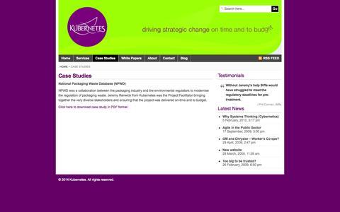 Screenshot of Case Studies Page kubernetes.co.uk - Case Studies - captured Sept. 30, 2014