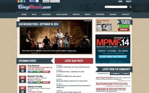 Screenshot of Home Page cincymusic.com - CincyMusic.com - Cincinnati's Music Resource - captured Sept. 22, 2014