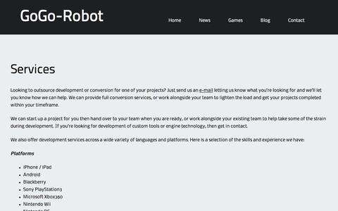 Screenshot of Services Page gogo-robot.com - Services – GoGo-Robot - captured July 15, 2016