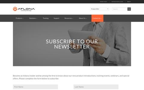 Screenshot of Signup Page atlona.com - Atlona Newsletter - Subscribe - captured May 31, 2017